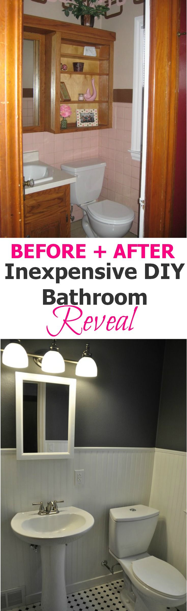 Inexpensive DIY Bathroom Reveal.  Ugly to modern for under $350!