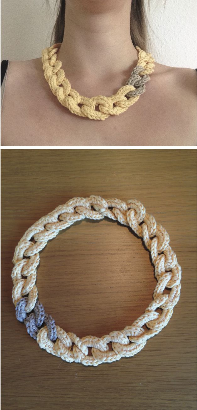 I love this simple chunky crocheted link necklace. Great as a different kind of statement jewellery :) Made with inspiration from chabepatterns.com