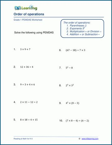 Order Of Operations 6th Grade Math Worksheets in 2020 ...