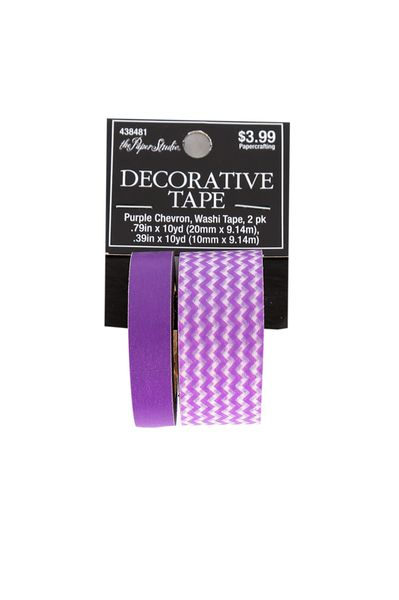 The Paper Studio, Decorative Washi Tape, Purple Chevron and Solid, 2 pack
