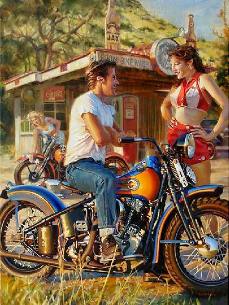 Vintage Sturgis Harley Davidson Fine Art By David Uhl