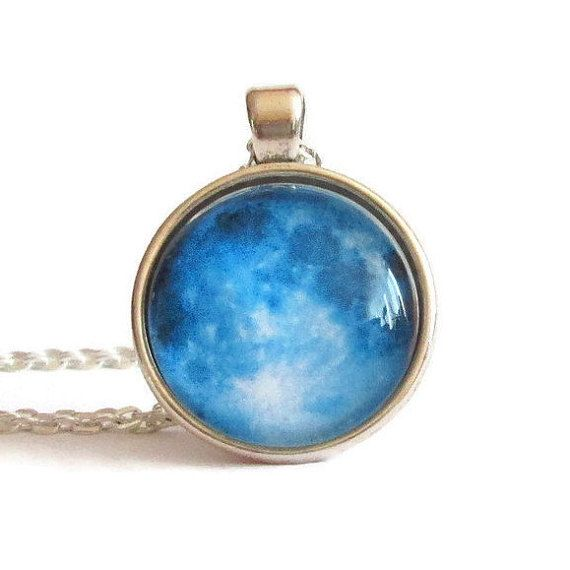 blue moon pendant blue moon necklace blue pendant gift for her astronomy planets fashion style boho affordable gifts by FloralFantasyDreams