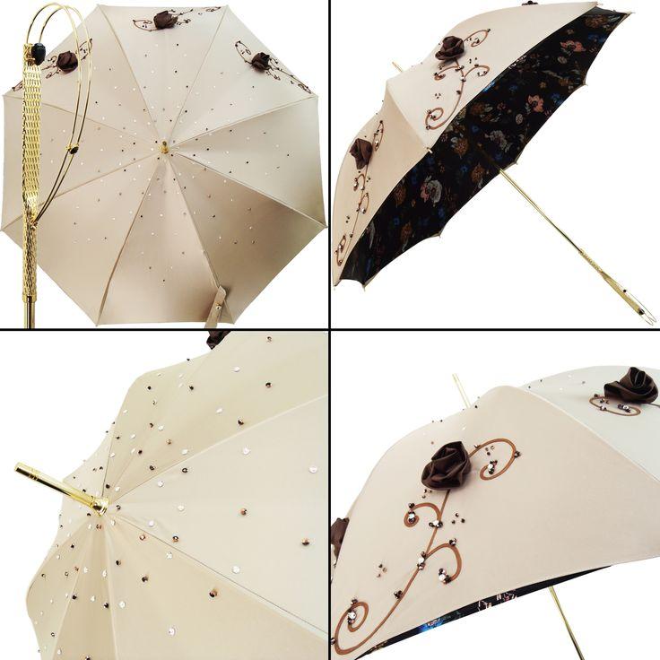 Ekskluzywna parasolka il MARCHESATO Wytworna rękojeść pokryta 24 kar. złotem,dodatkowo ozdobiona kryszt.Swarovski