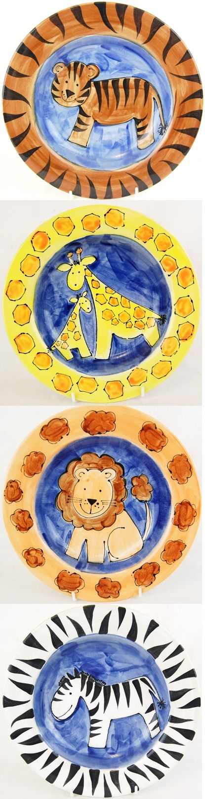 Ceramic paint a plate.  Jungle theme set DIY decorated, hand-painted PYOP.  Tiger, Giraffe, Lion and Zebra all painted on a bisque pottery rimmed plate.