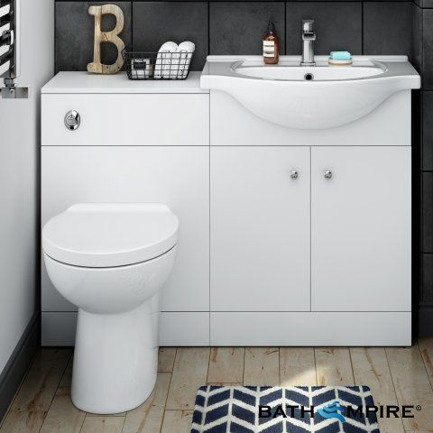 1200mm Blanc Matte White Combined Suite with Toilet & Basin - BathEmpire