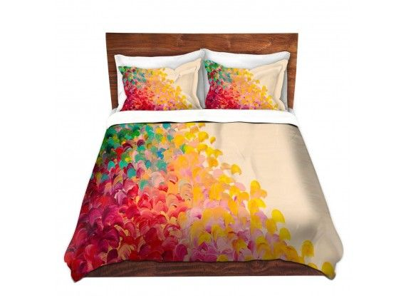 Ebi Emporium Duvet Covers and Pillow Shams, Artist Julia DiSano on Dianoche Designs, Colorful Whimsical Abstract Painting Designer Bedroom Bedding Home Decor Dorm Room Style #rainbow #multicolor #yellow #red #cream #offwhite #splash #ocean #waves #ombre #brushstrokes #fun #happy #boldcolors #colorful #abstract #art #fineart #homedecor #decor #bedroom #bedding #pillow #shams #duvet #duvetcover #dorm #style #elegant #stylish #decorative