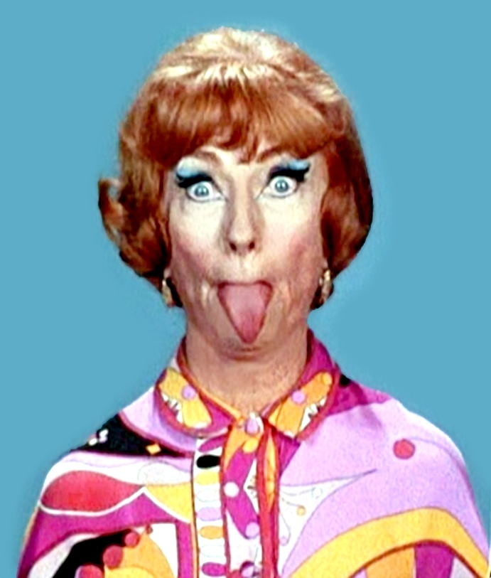 "A rare photo of Agnes Moorhead as Endora on ""Bewitched captured in a playful mood (while wearing Pucci, no less)!"