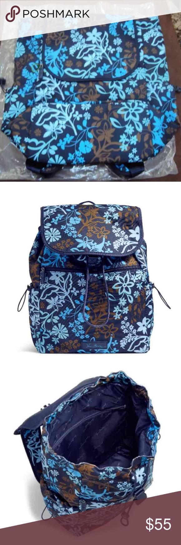 "Vera Bradley Lighten Up BackPack Vera Bradley Lighten Up Drawstring Backpack Java Floral This lightweight backpack has an X large main compartment with a drawstring closure along with a top flap with a buckle X-Large Main compartment with a drawstring and buckle closure 2 mesh slip pockets and a full width zip pocket inside the main compartment  Large back zip pocket Side pockets with adjustable drawstrings. Adjustable padded shoulder straps  Padded back panelTop mounted carry handle 12"" W x…"