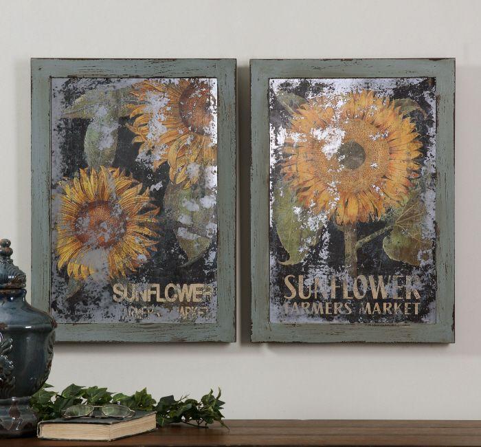 Uttermost sunflower farmers market art set of 2 55003