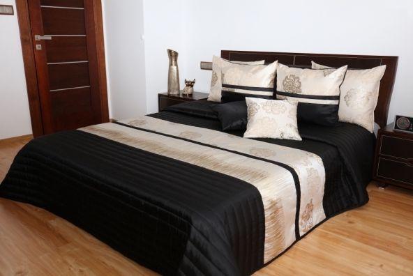 Čierno zlatý prešívaný prehoz do spálne na posteľ