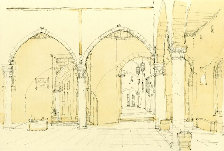 Watercolour Sketch - Tripoli Castle Courtyard, Libya www.nickhirst.co.uk