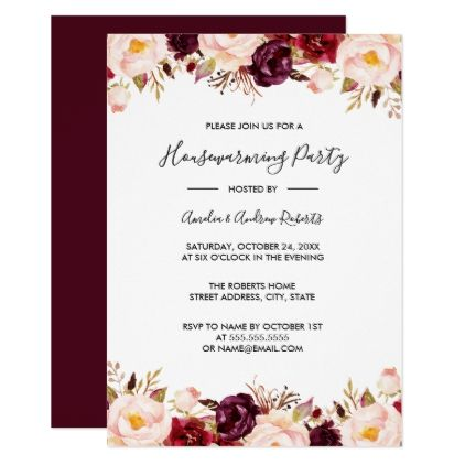 Marsala Burgundy Red Watercolor Housewarming Card - invitations custom unique diy personalize occasions