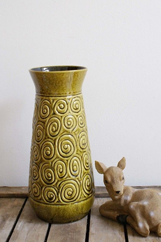 Grote groene retro West Germany vaas. Aardewerk vintage vaas. AK Keramik? | Accessoires/Snuisterijen | Flat Sheep