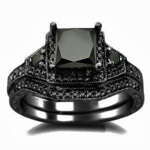 Black Princess Cut Diamond Engagement Ring Wedding SetStore Diamond Engagement RingDiamond Engagement Ring