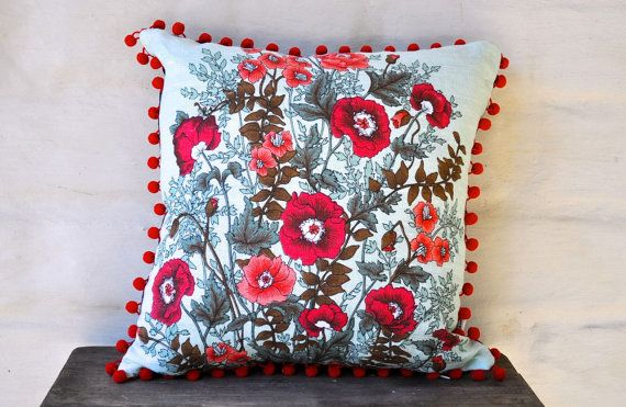 RED POPPIES Vintage Irish Linen Tea Towel Cushion Upcycled Repurposed Floral flowers Pillow Cushion Tropical Red Pom Pom mint red