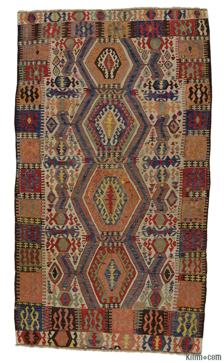 Vegetable-dyed Antique Turkish Aydin kilim rug around 120 years old and in very good condition.
