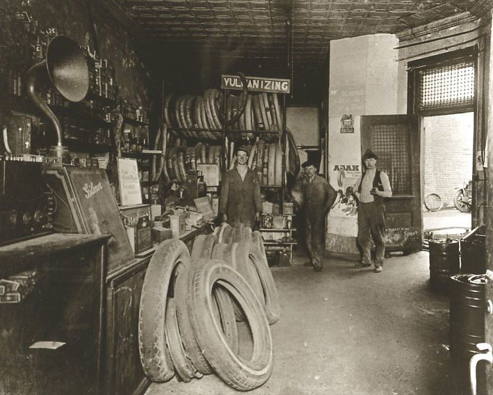 vintage ford auto repair shop auto garage interior old time auto part store marquette mi circa. Black Bedroom Furniture Sets. Home Design Ideas