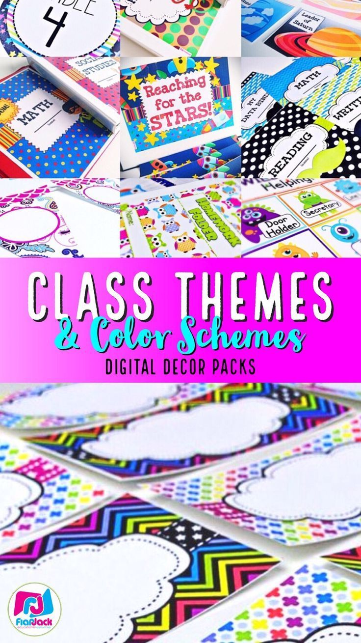A boring classroom is no fun for the students or for you! Check out the many easy, customizable class decor themes and color scheme bundles at FlapJack.