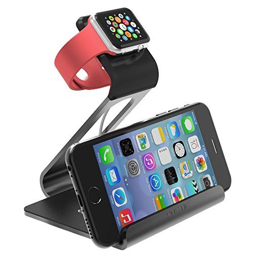 cool Apple Watch Stand - Poetic iPhone iwatch Dual Stand charging station holder cradle dock * Updated Version * - Aluminum Stand with TPU Dock  for Apple Watch Space Grey (3-Year Manufacturer Warranty From Poetic)