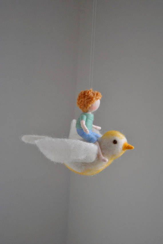 Bird mobile /wool decoration /WaldorfiInspired wall hanging: