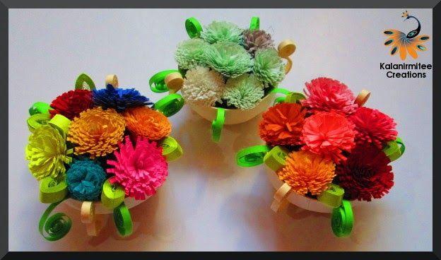 Quilled flower Basket - Visit http://www.kalanirmitee.com