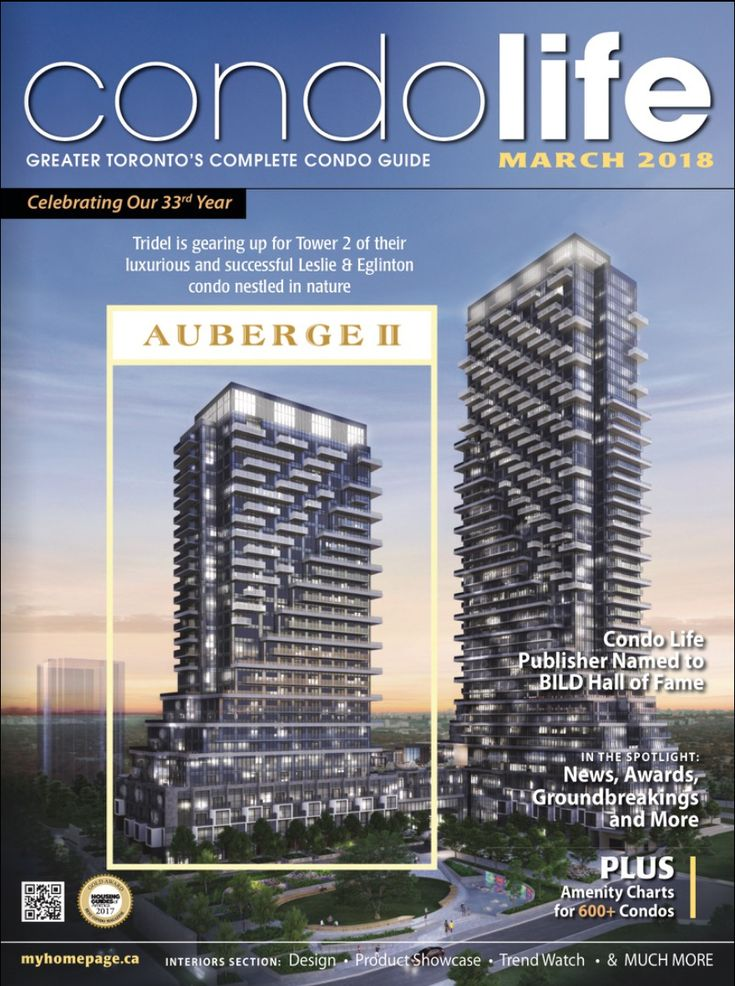 Click for the March issue of CONDO LIFE, now online for you to read free! Find your new condo today with our builders ads, editorial, detailed maps & amenity charts and more! Cover features Tridel's, Auberge II at Leslie & Eglinton. http://digitalcondolife.myhomepage.ca/2018/March/?1