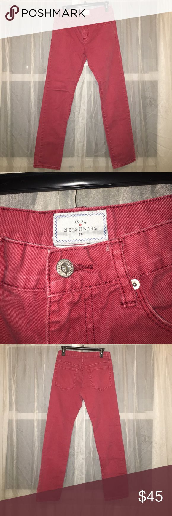 """NWOT UO YOUR NEIGHBORS SKINNY 30 From Urban Outfitters, NWOT, Your neighbors, size 30, Really neat """"washed out"""" effect. Great thick denim, excellent fit. Goes great polo shirts & sweaters, also a great cut for loafers and boots. Urban Outfitters Jeans Skinny"""