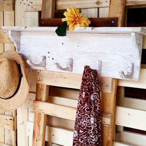 Recycled timber hook shelf