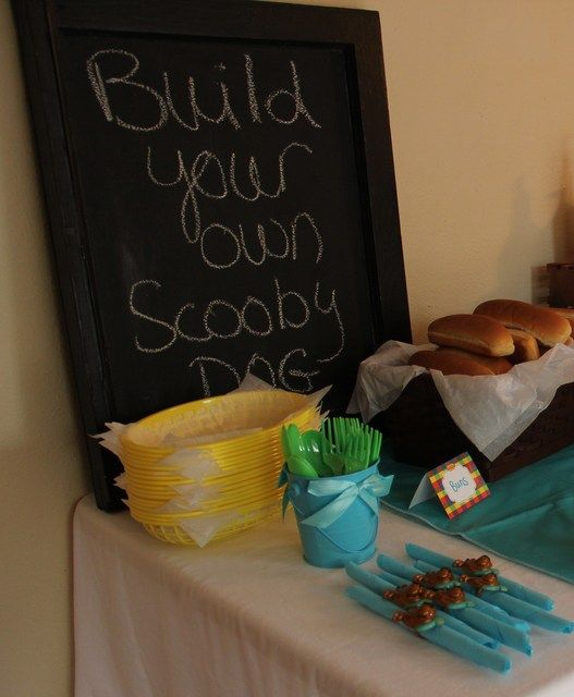 Scooby themed party food - Build your own 'Scooby' dog.