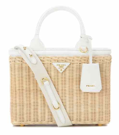 Wicker and canvas bag | Prada