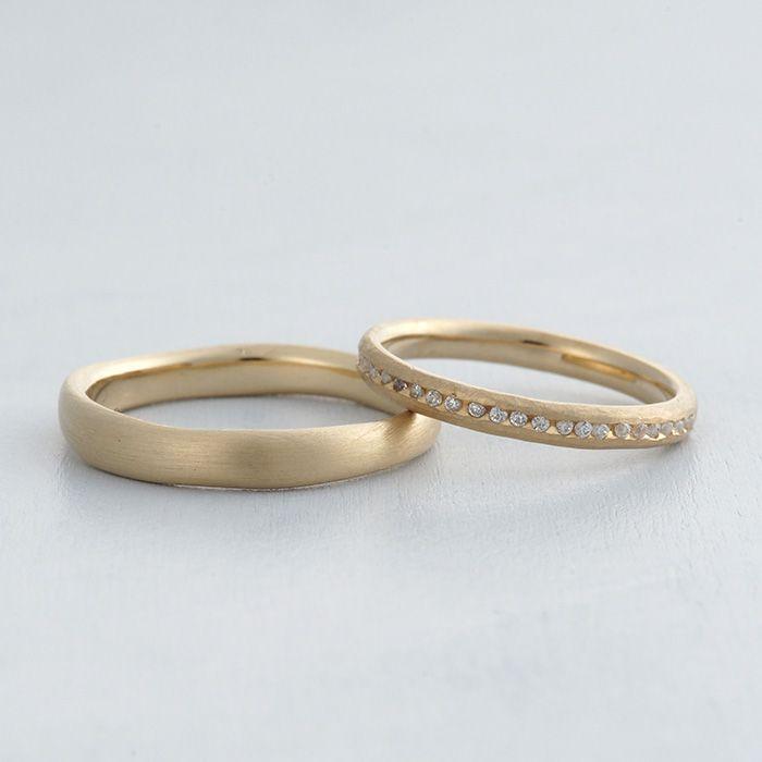 マリッジリング:Loto(ロート) K18(ゴールド),つや消し,ダイヤモンド [結婚指輪,marriage,ウエディング,wedding,Gold,ダイヤモンド,diamond,ring]