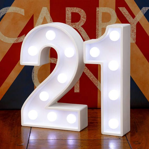 Light Up Number 21 Twenty One 21st Birthday 23cm 9 Etsy Wooden Letters 21st Birthday Wall Hanging