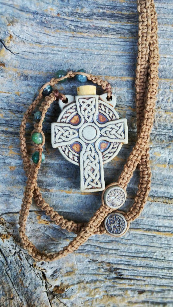 Celtic Cross Hemp Necklace, Moss Agate , Celtic Cross Bottle Hemp Macrame Necklace,  Christian Jewlery , Celtic Ashes Bottle, Tree of Life by MysticKeyMeditations on Etsy