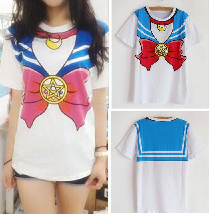 2015 new Hot Sailor moon harajuku t shirt women cosplay costume top kawaii fake sailor t shirts girl new Free Shipping-in T-Shirts from Women's Clothing & Accessories on Aliexpress.com | Alibaba Group