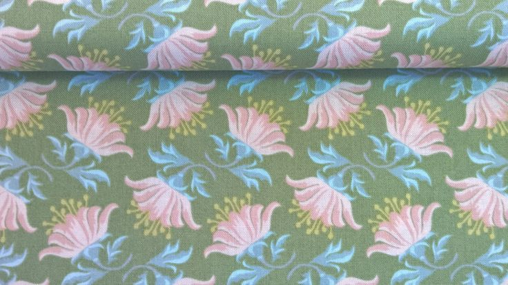 Stoff Blumen - Tilda Quilt Collection Painted Lily Green - ein Designerstück von Stoffe-guenstig-kaufen bei DaWanda