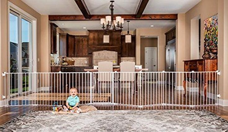 Regalo 192-Inch Super Wide Gate Play Yard White Pet Safety Gates Baby Health Dog