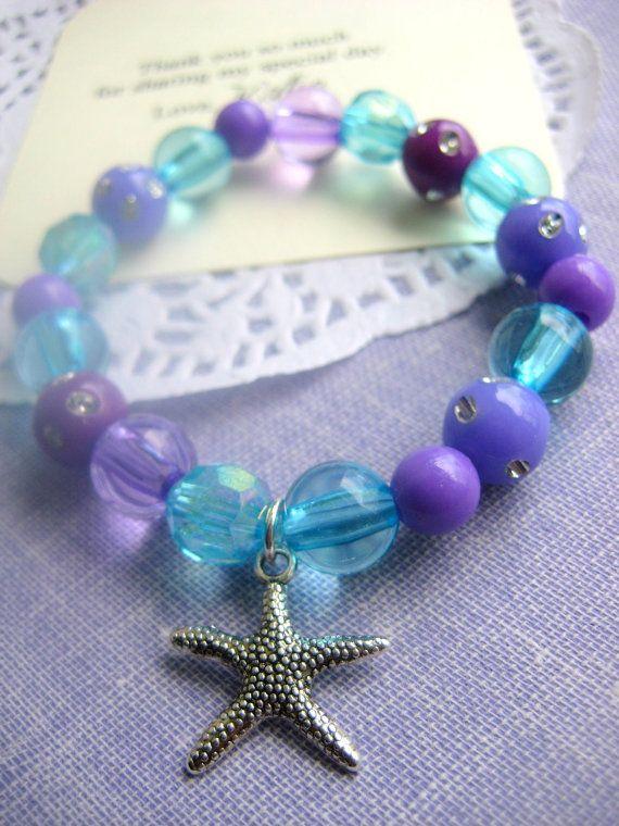 Ocean, mermaid, children birthday party favor, aqua, turquoise, purple, starfish, beach themed. Set of TEN.