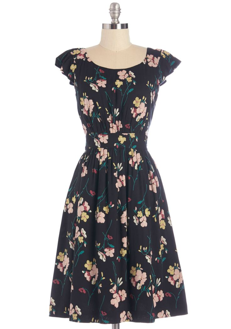 Get What You Dessert Dress in Midnight Blossoms by Emily and Fin - Multi, Floral, Casual, A-line, Cap Sleeves, Woven, Better, Scoop