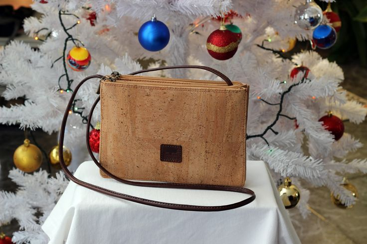Diva Cork bag | Trendy cork cross body bag with dual zipped compartments for even more storage .