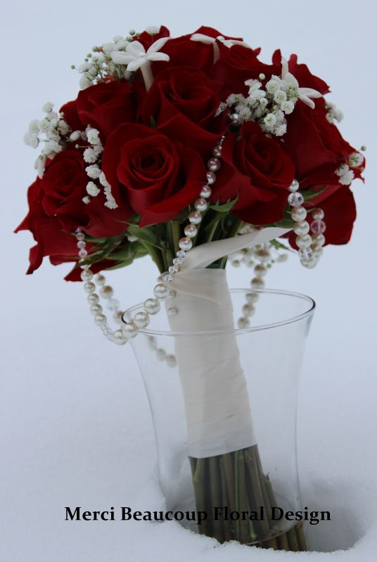 Elegant Clic Red Rose Bouquet With Pearl Accents Mercibeaucoupfldesign Little Starlittle Whitesmall White Flowersred