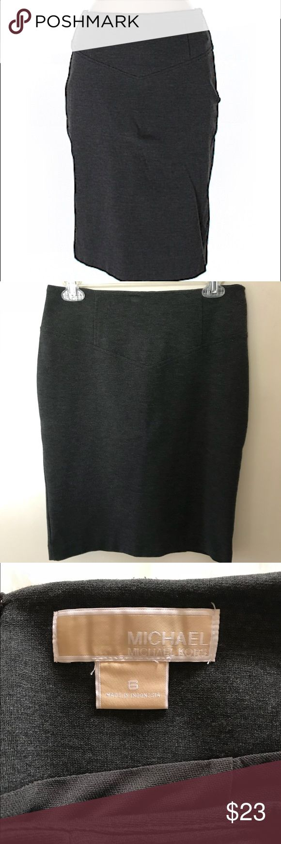 """Michael Kors Gray Knit Pencil Skirt Michael Kors pencil skirt. 44% polyester, 28% nylon, 23% rayon, 5% lycra. It's a stretchy knit with seams for a very flattering fit. 22.5"""" length, 28"""" waist, hidden back zipper & stretchy full gray lining. Excellent condition, no flaws. Great for office/business. Can be worn with boots, heels or flats. Clean non-smoking home. Posh Ambassador (Suggested User), 5⭐️avg rated, ship quickly - so you can buy with confidence. 30% bundle discount on 2 or more…"""