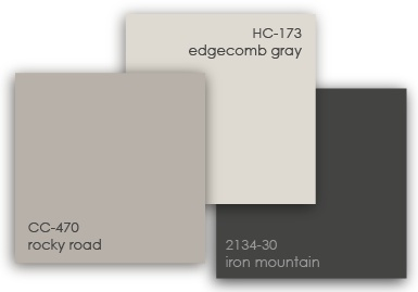 good color palate for walls -I have the Behr version of this in my Kitchen/Laundry room: Burnished Clay, Elephant Skin, and Pencil Point.