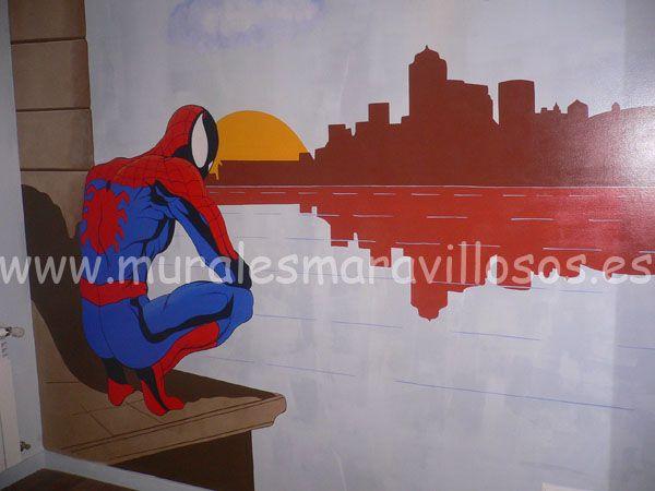 Murales de Spiderman . Murales infantiles  y juveniles pintados en toda España. Sobre paredes lisas o en gotelé. Muchas ideas y fotos en www.muralesmaravillosos.es
