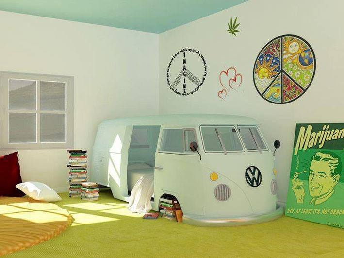 VW, Volkswagon Van frame recycled into surround bed for children's, teen's room, old hippie, boho chic guest room; Upcycle, recycle, salvage, diy, repurpose!  For ideas and goods shop at Estate ReSale & ReDesign, Bonita Springs, FL
