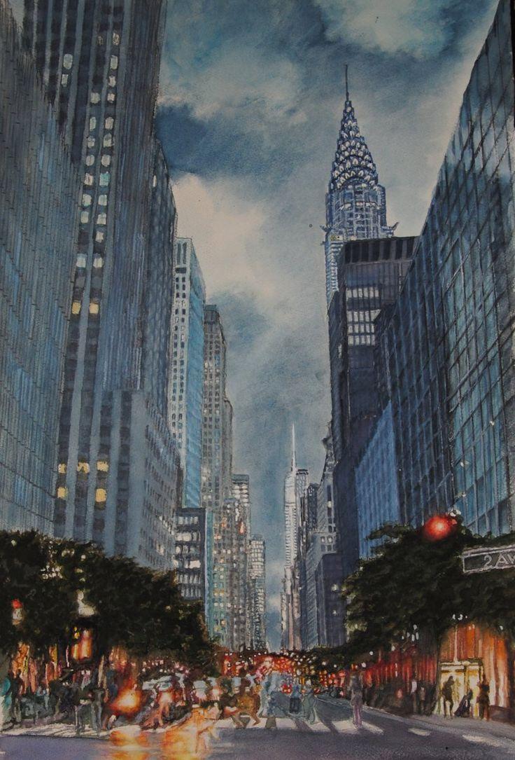 New York ..New York - 2015 Aquarelle 55 x 38, Fabriano 300 gr, Original price: 1000 Euro, exclusive high end imprint on aquarelle paper - 100 Euro