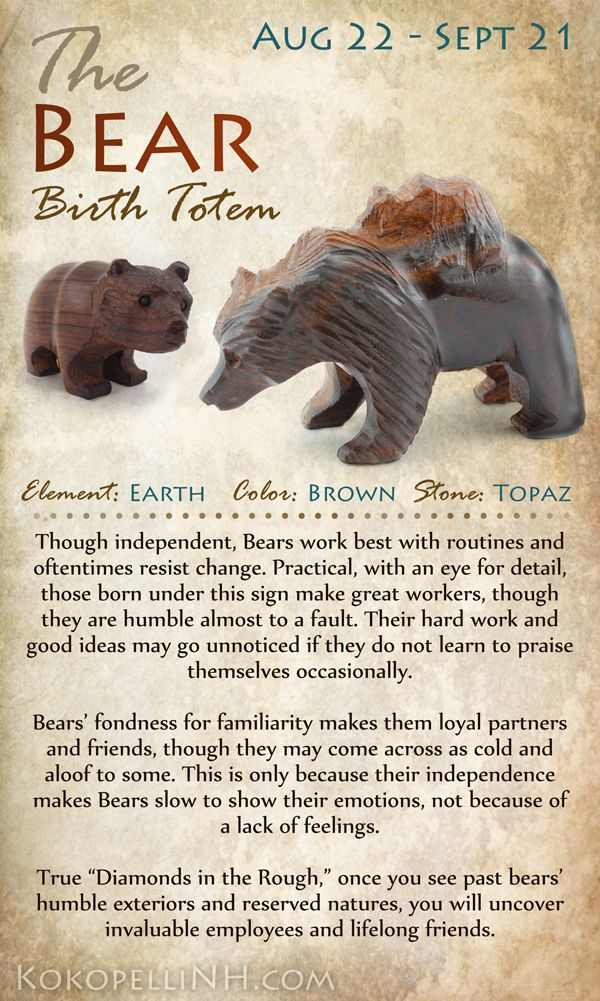 Are you the Practical Bear? Those born between Aug 22 and Sept 21 are represented by the Bear Birth Totem. Click over to our website to read more!