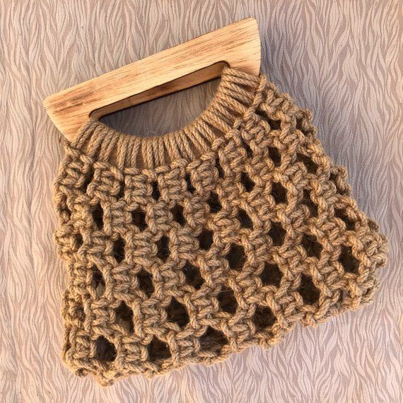 Jute macrome bag handmade bag macrame clutch with wooden | Etsy