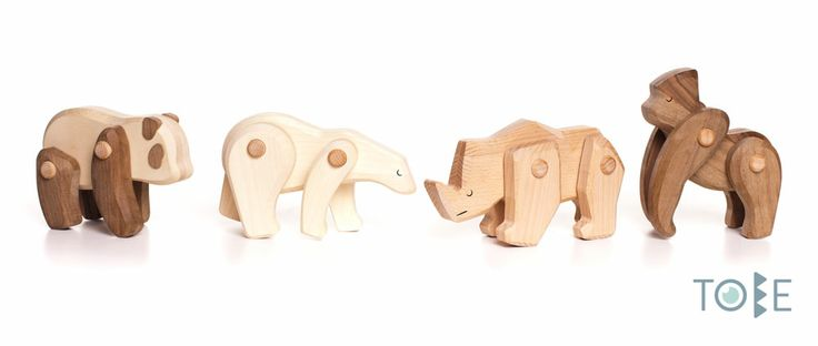 Endangered species not only deplete our natural environment, they also deprives our link with the nature. This ancient bond is frequently visible in traditional children's toys depicting animal figures. These four animals made from different kinds of wood are made to express the relationship between the attributes of the animals and qualities of humans.