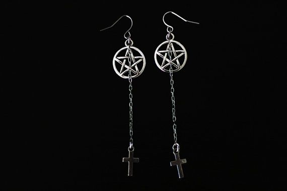 Handmade, one of a kind pentagram earrings with chains and small cross charms…