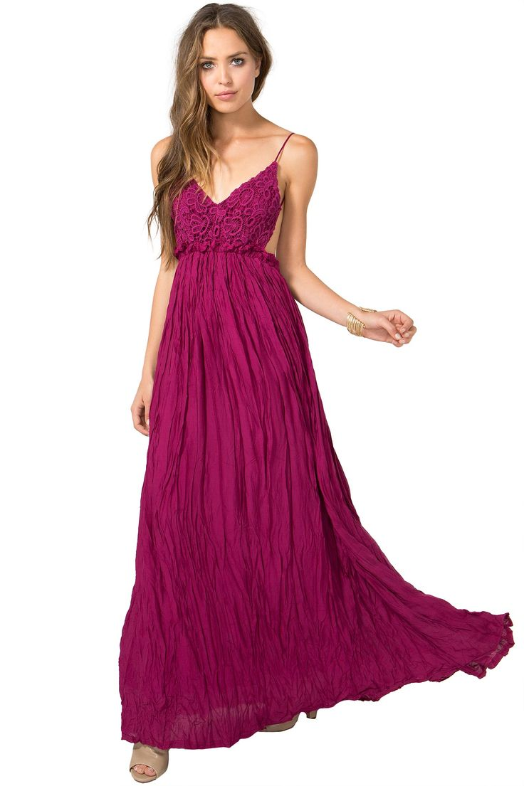 A floor-length maxi dress, featuring a crinkled skirt, crochet bodice with V-cut bustline, and open back. Thin shoulder straps. Partially lined. $43.90